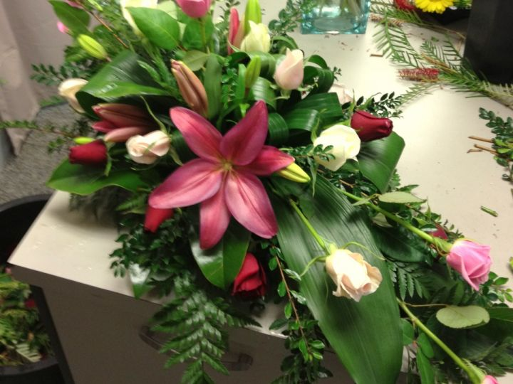 Pink and Red Lilly and Rose Casket Spray