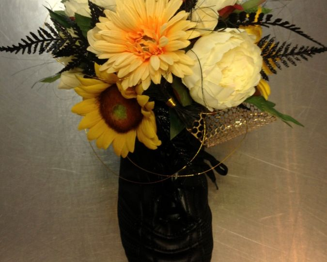 Flower Arrangement in a Rugby Boot