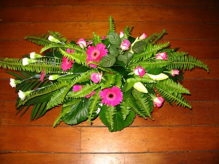 Fern Ladder, Roses, Oriental Lilies, Carnations and Gerberas