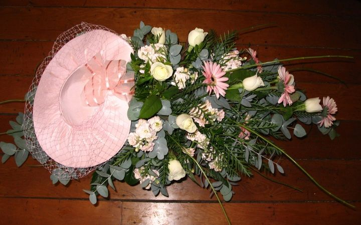 Gerberas, Eucalyptus, Roses and Stock with Personal Touch - Wedding Hat