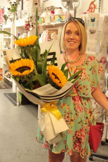 One of our lovely customers Anna-May with her Sunflower Bouquet